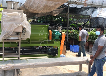 Cow Dung Manure Packing Machine for granular fertilizer project arrived in Singapore