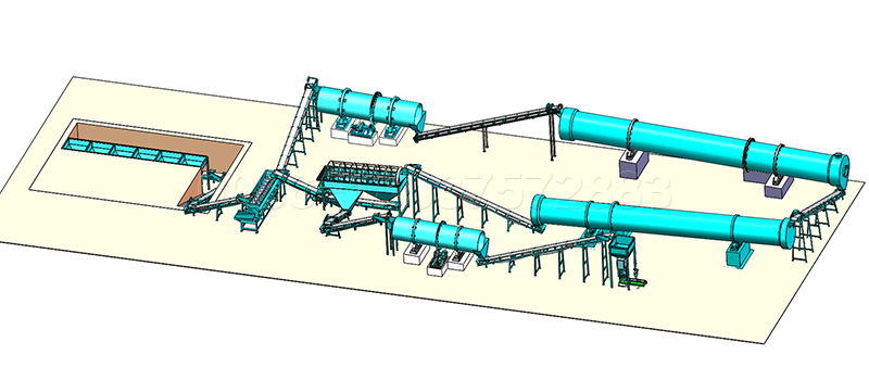 Rotary Drum Granulator Production Line Design Layout for Large Scale Fertilizer Production